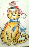 Совершенно нарисованная рукой иллюстрация кота Иллюстрация вектора