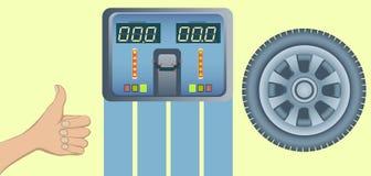 Совершенные автошины и баланс выравнивания колеса иллюстрация штока