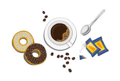 Совершенные ингридиенты времени кофе Стоковое Фото