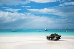 Совершенный белый пляж песка на острове Boracay Стоковое Изображение RF