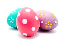 3 совершенных красочных handmade пасхального яйца Стоковые Фотографии RF