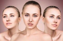3 совершенных стороны девушки красоты Стоковая Фотография