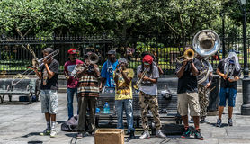 Совершители джаза улицы французского квартала Нового Орлеана Стоковая Фотография