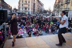 Совершители принимать фестиваль клоуна милана Стоковые Изображения