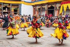 Совершитель на фестивале культуры Jakar Dzong традиционном в Bumthan Стоковые Изображения RF
