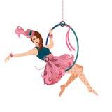Совершитель Trapeze женщины воздушный Стоковые Изображения