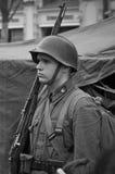 Советский солдат - реконструкция Стоковая Фотография
