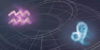 Совместимость знаков гороскопа водолея и Лео Ночное небо Abstra Стоковые Изображения RF