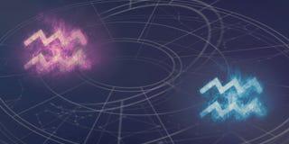 Совместимость знаков гороскопа водолея и водолея Ночное небо a Стоковая Фотография