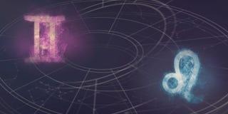Совместимость знаков гороскопа Джемини и Лео Конспект ночного неба Стоковые Фотографии RF