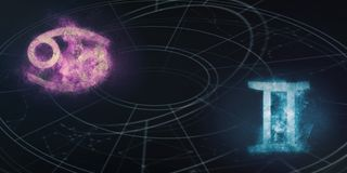 Совместимость знаков гороскопа Карциномы и Джемини Abstr ночного неба Стоковые Изображения RF