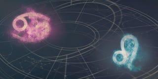 Совместимость знаков гороскопа Карциномы и Лео Конспект ночного неба Стоковые Изображения