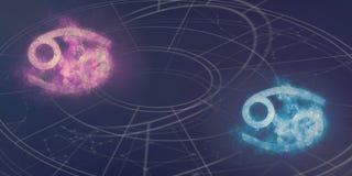Совместимость знаков гороскопа Карциномы и Карциномы Abstr ночного неба Стоковое Изображение