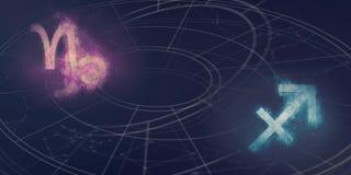 Совместимость знаков гороскопа козерога и Стрелца Ноча s Стоковые Изображения