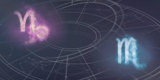 Совместимость знаков гороскопа козерога и Scorpio Ночное небо a Стоковое фото RF