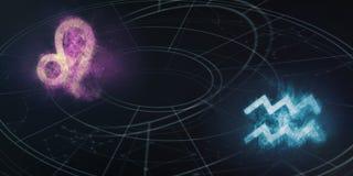 Совместимость знаков гороскопа Лео и водолея Ночное небо Abstra Стоковые Фотографии RF