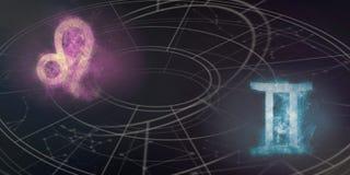 Совместимость знаков гороскопа Лео и Джемини Конспект ночного неба Стоковое фото RF