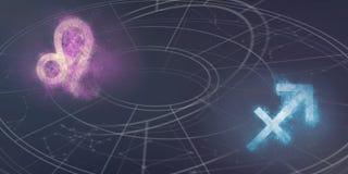 Совместимость знаков гороскопа Лео и Стрелца Abs ночного неба Стоковые Изображения