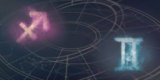 Совместимость знаков гороскопа Стрелца и Джемини ночное небо молнии иллюстрации абстракции Стоковые Фотографии RF