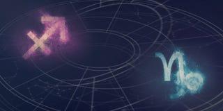 Совместимость знаков гороскопа Стрелца и козерога Ноча s Стоковые Фото