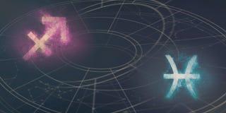 Совместимость знаков гороскопа Стрелца и Pisces ночное небо молнии иллюстрации абстракции Стоковое Изображение