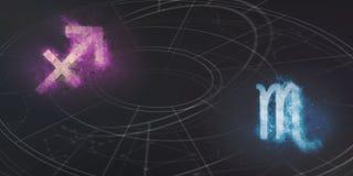 Совместимость знаков гороскопа Стрелца и Scorpio ночное небо молнии иллюстрации абстракции Стоковые Фото