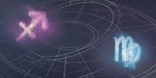 Совместимость знаков гороскопа Стрелца и Virgo Ночное небо a Стоковое Изображение RF