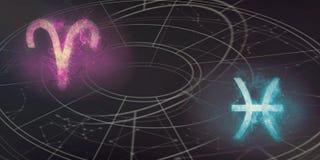 Совместимость знаков гороскопа Aries и Pisces Ночное небо Abstra Стоковое фото RF