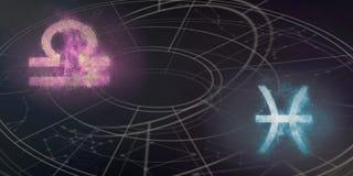 Совместимость знаков гороскопа Libra и Pisces Ночное небо Abstra Стоковое Изображение RF