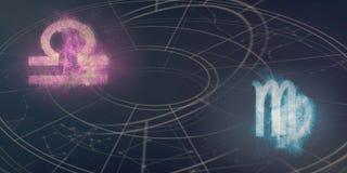 Совместимость знаков гороскопа Libra и Virgo Ночное небо Abstrac Стоковое Фото