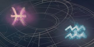 Совместимость знаков гороскопа Pisces и водолея Abs ночного неба Стоковое Изображение RF