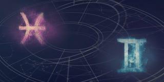 Совместимость знаков гороскопа Pisces и Джемини Abstr ночного неба Стоковые Фотографии RF