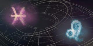 Совместимость знаков гороскопа Pisces и Лео Конспект ночного неба Стоковые Фотографии RF