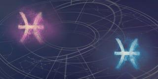 Совместимость знаков гороскопа Pisces и Pisces Abstr ночного неба Стоковое Изображение RF