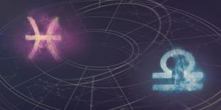 Совместимость знаков гороскопа Pisces и Libra Ночное небо Abstra Стоковое Изображение RF