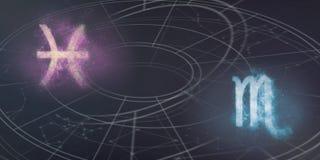Совместимость знаков гороскопа Pisces и Scorpio Ночное небо Abst Стоковое фото RF