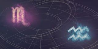 Совместимость знаков гороскопа Scorpio и водолея Ночное небо Ab Стоковое Изображение RF
