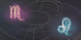 Совместимость знаков гороскопа Scorpio и Лео Ночное небо Abstrac Стоковые Изображения RF