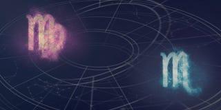 Совместимость знаков гороскопа Virgo и Scorpio Abstr ночного неба Стоковые Фотографии RF