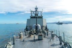 Совмещенный флот военно-морского флота состоит из несколько типа корабля как воздух стоковое фото
