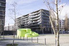 Современная архитектура в парке наций в Лиссабоне, Португалии стоковая фотография rf