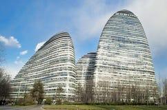 Современная архитектура Wangjing SOHO ориентир ориентира в Пекине Стоковое Изображение