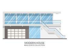 Современная дача, недвижимость подписывает внутри плоский стиль также вектор иллюстрации притяжки corel Стоковая Фотография RF