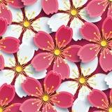Современная безшовная картина с белой и розовой Сакурой Стоковые Фото