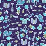Современная безшовная картина с инструментами для вязать и doodles бесплатная иллюстрация