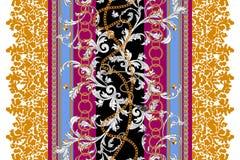 Современная безшовная картина с цепями и листьями Заплата вектора барочная для печати, ткани, шарфа иллюстрация штока
