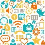 Современная безшовная предпосылка: смешивание социальных значков Стоковое Фото
