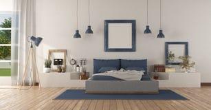 Современная белая и голубая спальня хозяев иллюстрация вектора