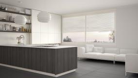 Современная белая, серая и деревянная кухня с полками и шкафами, софа и панорамное окно Современная живущая комната, минималистск бесплатная иллюстрация