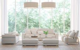 Современная белая живущая комната в изображении перевода леса 3d Стоковые Фото